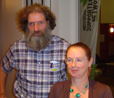 Jacqueline Cremers (secretary-General of the Eurean Greens) en Jan Breij van De Groenen
